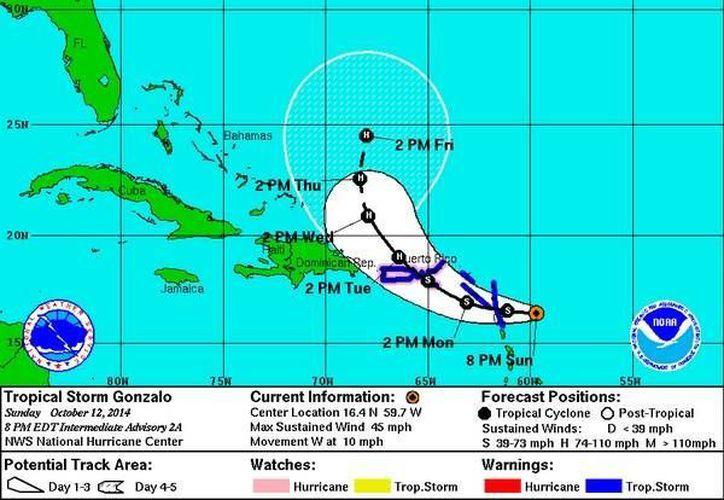Posible trayectoria de la tormenta tropical Gonzalo, que hasta ahora parece enfilarse hacia Puerto Rico. (CNH)