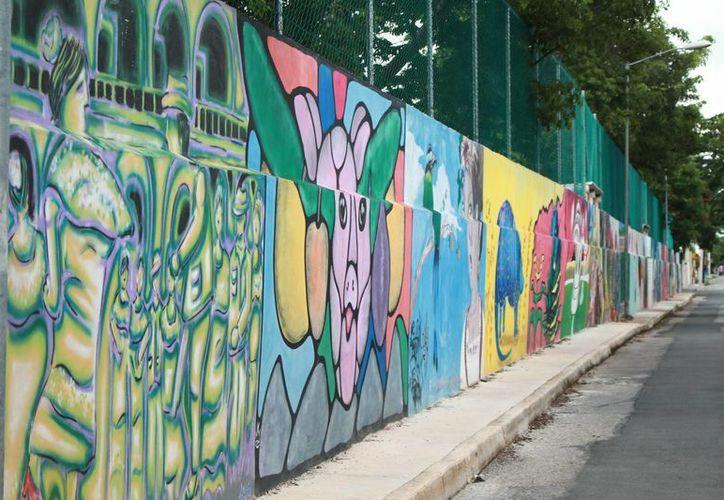 Imagen de algunos grafitis que se encuentran en el muro trasero del Tecnológico de Mérida. (Milenio Novedades)
