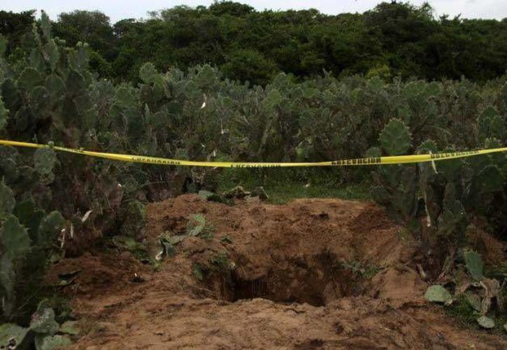 En Michoacán fue hallada una fosa con tambos llenos de droga sintética, la cual fue valuada en 30 millones de dólares. En la foto, una fosa clandestina en Zitácuaro. (AP)