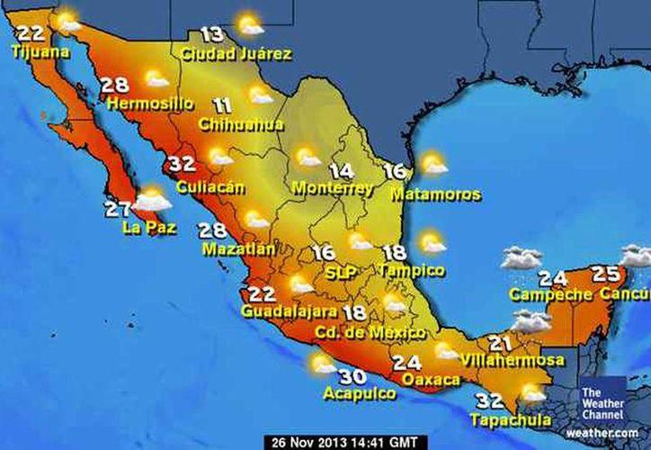 La Península de Yucatán tendrá clima nublado con altas probabilidades de lluvia. (clima.yahoo.com)