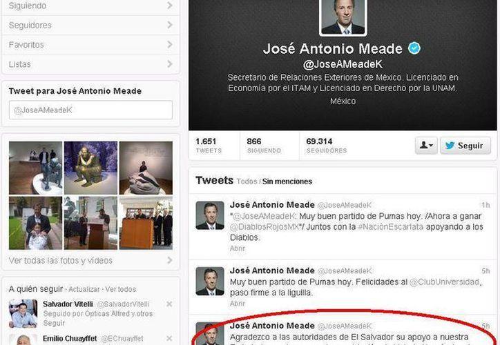 El canciller agradeció el apoyo de la Embajada de México en el Salvador. (Twitter)