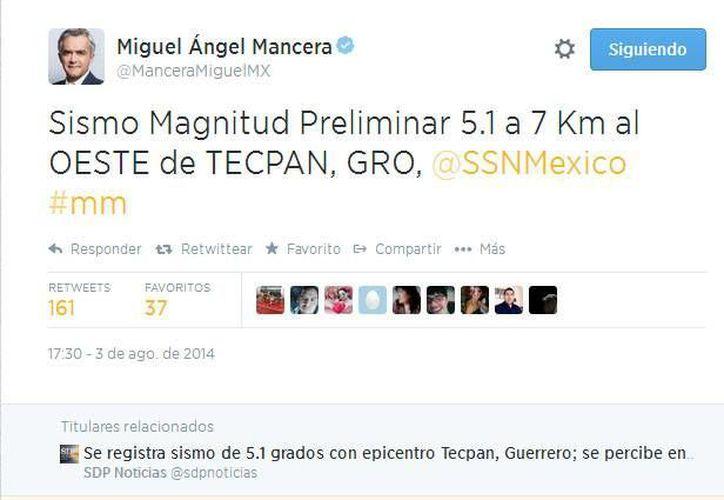 Miguel Mancera, jefe de Gobierno del Distrito Federal, publicó varios mensajes sobre el sismo en su cuenta de Twitter. (Captura de pantalla)