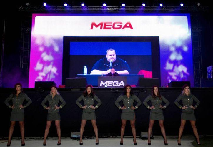 """Presentación del """"Mega"""", que ofrece, entre otras cosas, 50 gigabytes de almacenamiento gratuito. (Agencias)"""