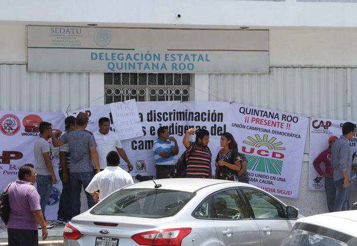 Diversas agrupaciones campesinas se plantaron desde el medio día en las instalaciones de la Sedatu. (Joel Zamora/SIPSE)
