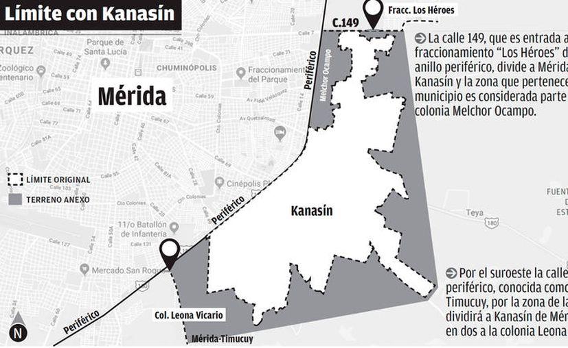 Por el suroeste la calle que cruza periférico, conocida como la Mérida-Timucuy, por la zona de la calle 42 Sur, dividirá a Kanasín de Mérida, partiendo en dos a la colonia Leona Vicario. (Milenio Novedades)