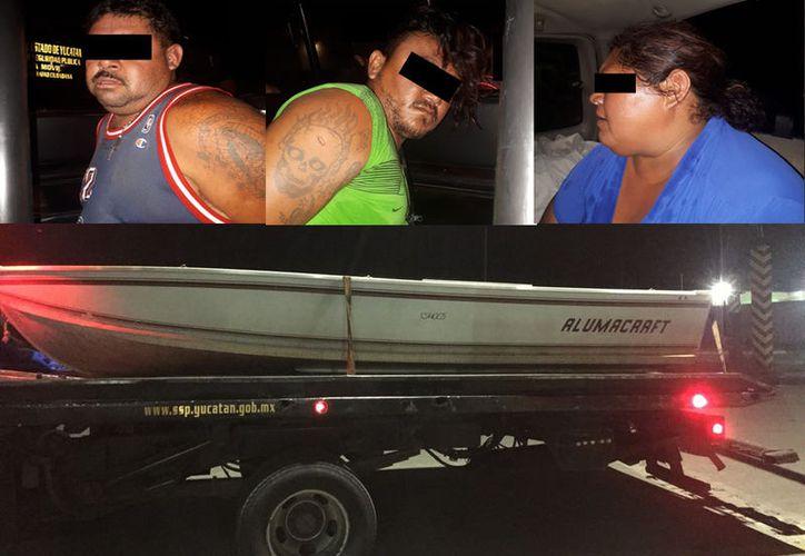 Arriba, tres de los ladrones que cuentan con antecedentes delictivos tanto en Quintana Roo como en Campeche. (SSP)