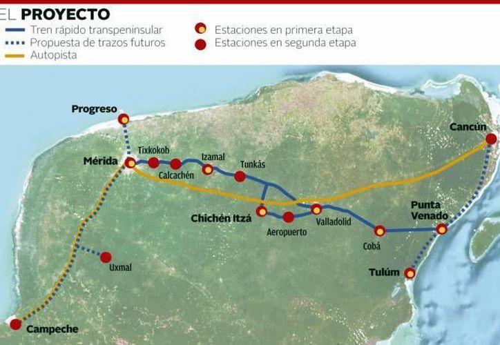 La propuesta de la ruta del tren transpeninsular. (Archivo/SIPSE)