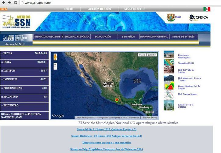 Página principal del sitio web del Servicio Sismológico Nacional, en la que registra el temblor de este domingoi 5 de abril de 2015, en Oaxaca. (www.ssn.unam.mx/)