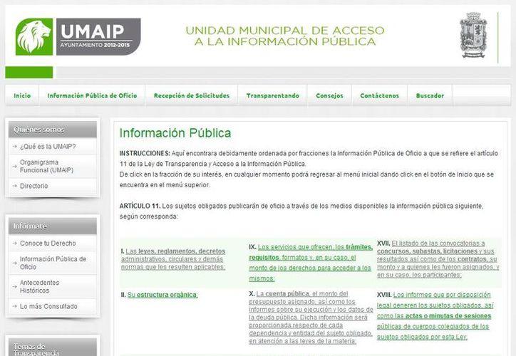 León, Guanajuato, figura entre los municipios con mayor nivel de transparencia. En la imagen, el portal de transparencia del Ayuntamiento de dicha ciudad. (Captura de pantalla)
