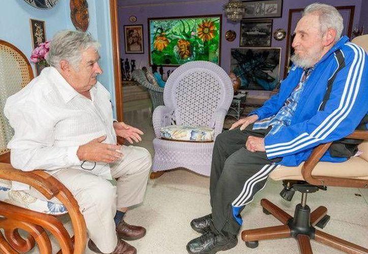 Fotografía del 29 de enero de 2014 y cedida por Cubadebate del entonces mandatario uruguayo, José Mujica (i), durante un encuentro con el expresidente cubano Fidel Castro (d). (EFE/Archivo)