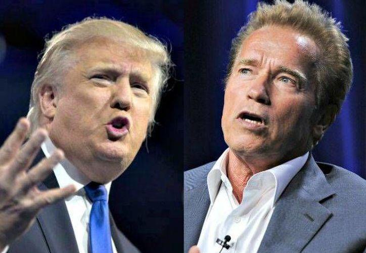 Donald Trump se burló de Arnold Schwarzenegger por sus bajos niveles de audiencia en la conducción del programa 'El aprendiz'. (AP/ Archivo)