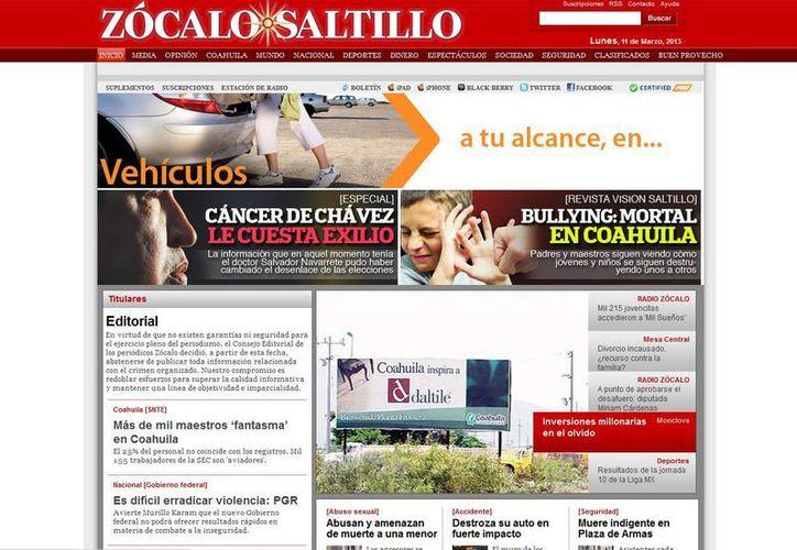 La editorial se publicó en la portada de las las cuatro ediciones. (zocalo.com.mx)