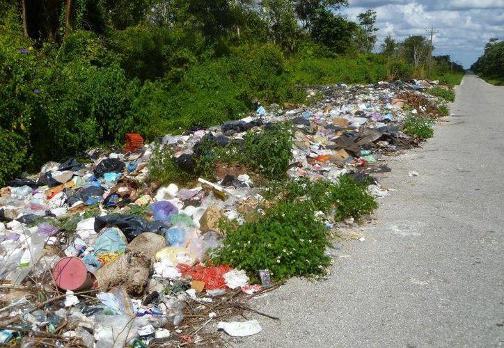 La basura se ubica a la orilla de la carretera por el poblado de Agua Azul. (Raúl Balam/SIPSE)