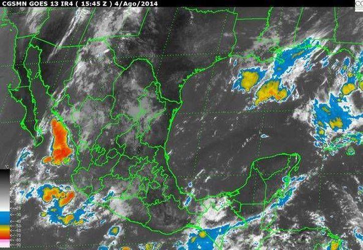 Imagen de satélite de la Comisión Nacional del Agua, que muestra el territorio mexicano y la ubicación de las tormentas tropicales. (conagua.com.mx)