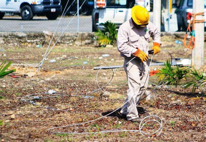 La CFE paraestatal está realizando el cambio de cable de cobre por el de aluminio. (Edgardo Rodríguez/SIPSE)