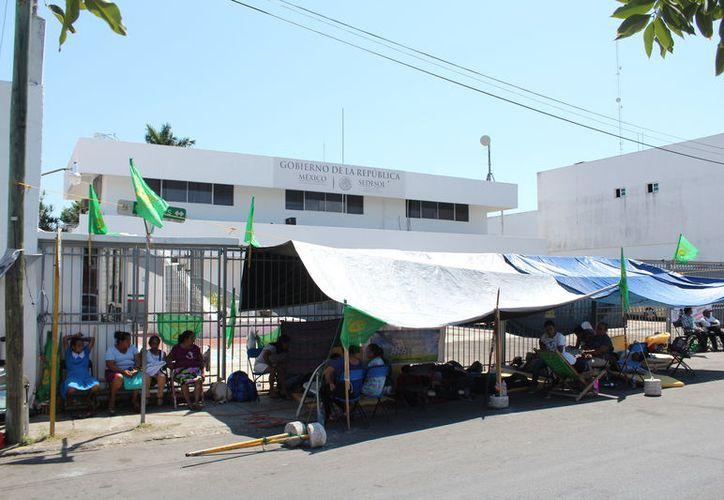 Los campesinos que están en el plantón son de varios municipios. (Joel Zamora/SIPSE)