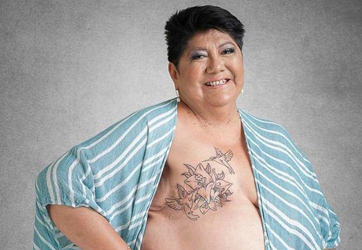 Ana Luz es una de las mujeres que sufrió una mastectomía total y por lo que optó por realizarse un tatuaje en Heart INK México. (facebook.com/heartinkmexicom)