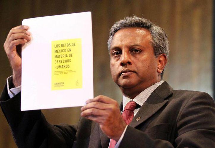 Salil Shetty visitó México para entregar el memorándum de Amnistía Internacional al Gobierno Federal. (Notimex)