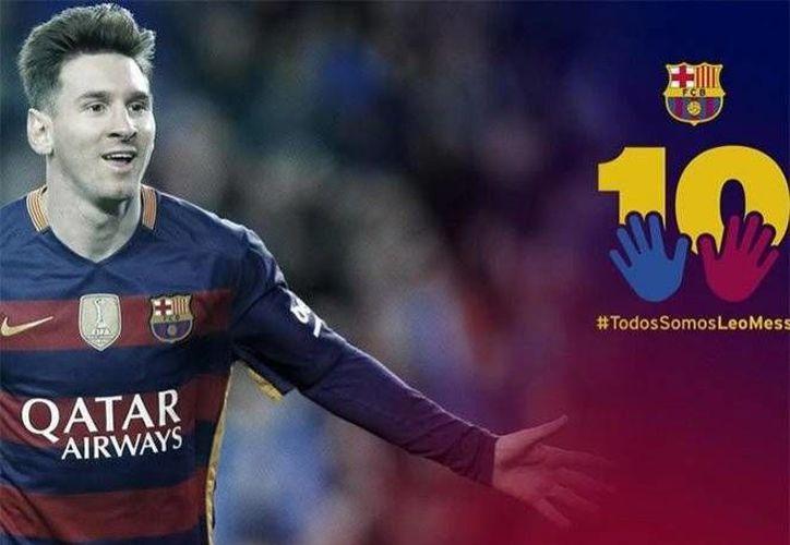 La directiva del FC Barcelona buscan transmitir al astro argentino que no se encuentra solo en esta etapa de problemas en el que se encuentra.(Foto tomada de Twitter/@FCBarcelona_es)