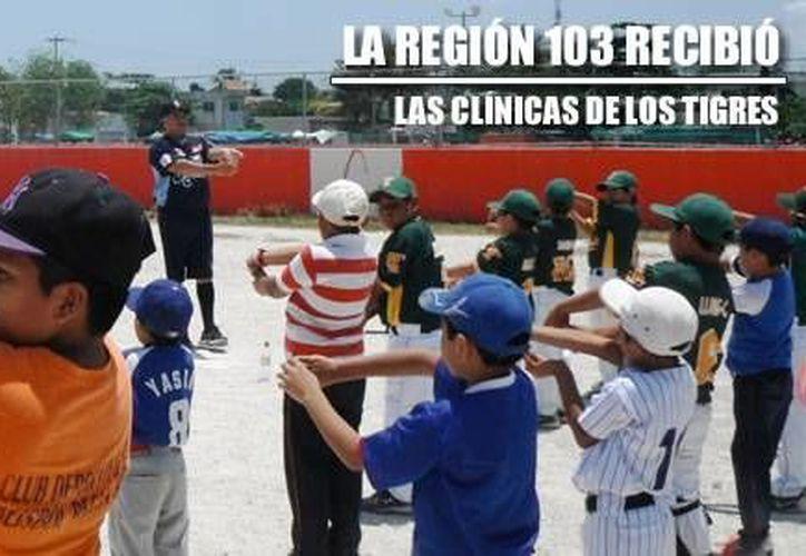 Los coaches Santos Hernández, y Luis Enrique Huerta impartieron la clínica infantil. (Redacción/SIPSE)