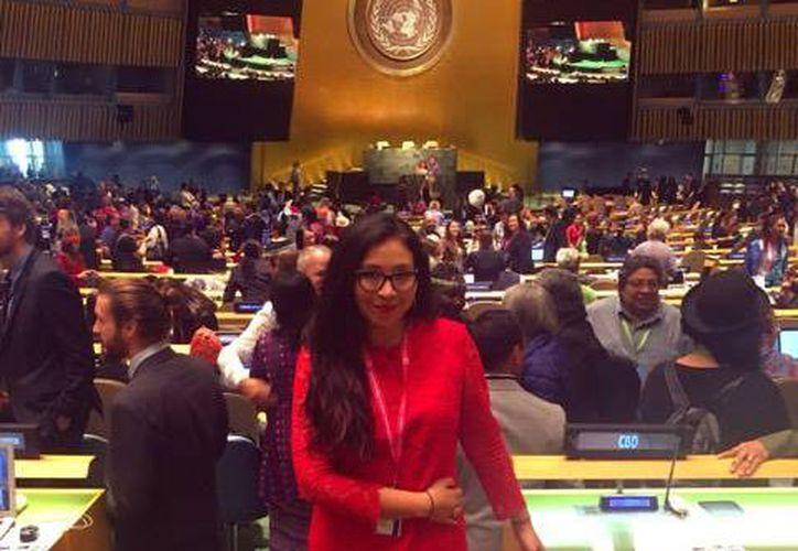 Yolanda López Maldonado durante su participación en el Foro Permanente de las Naciones Unidas para las Cuestiones Indígenas. (Cortesía)