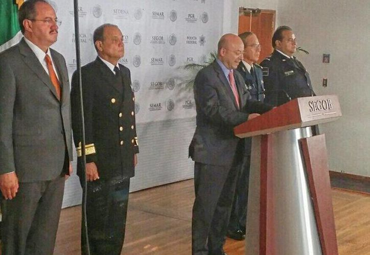 Renato Sales Heredia, coordinador Nacional Antisecuestros, durante la conferencia acerca de la detención de los secuestradores. (Tomada de Twitter/@sapiencarlos)