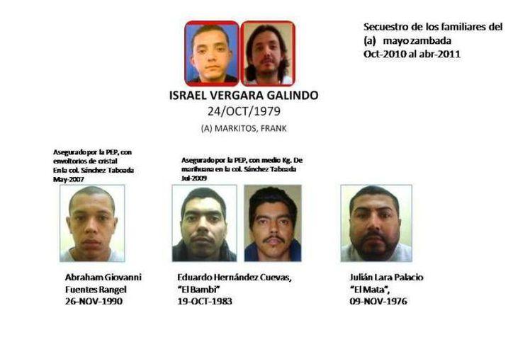 <i>El Markitos</i>, que aparece en la parte superior de esta gráfica, no sólo está implicado en el rapto de un empresario restaurantero sino de familiares de <i>El Mayo</i> Zambada y en un doble homicidio. (Cortesía: Policía Estatal Preventiva de Baja California)