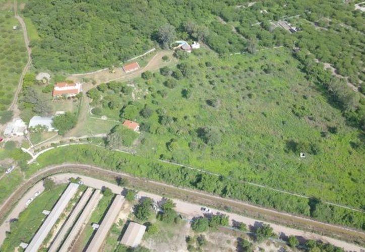 Vista área del rancho que cateó la policía. (El Debate)