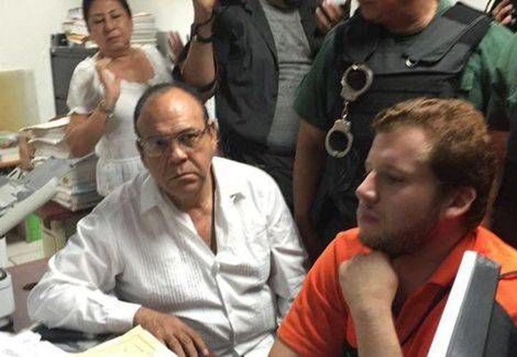 Imagen de Enrique Capitaine ante el juez de la causa, cuando se le dictó auto de formal prisión. (Isabel Zamudio/Milenio Digital)