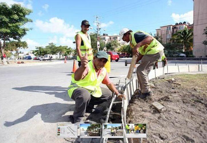 El programa consiste en la limpieza general de los camellones, poda de árboles y construcción de las guarniciones. (Cortesía/SIPSE)