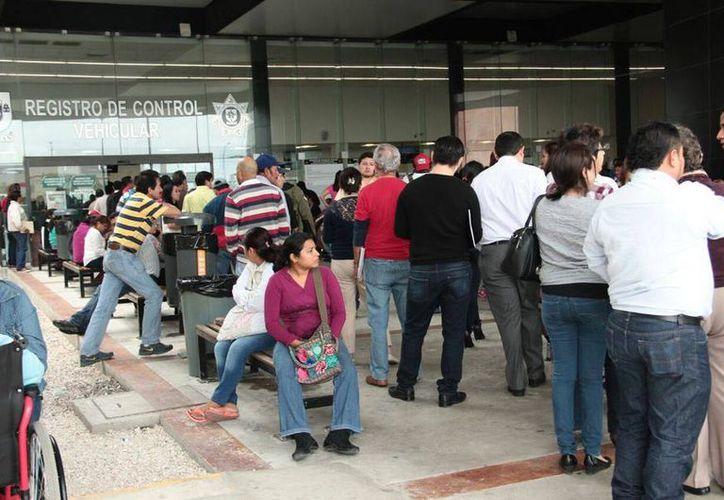 Miles de personas hacen largas filas y tienen que esperar entre tres y cinco horas para canjear placa vehiculares. (Archivo/SIPSE)