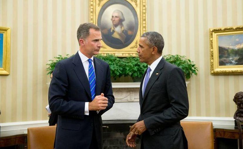 El rey Felipe VI y el presidente Obama sostuvieron una larga reunión en la que abordaron temas de interés para España y Estados Unidos. (EFE)