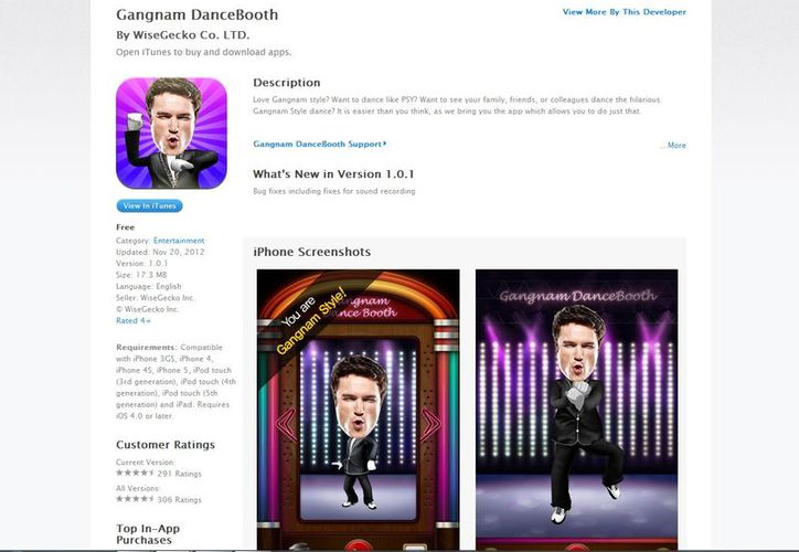 """Gangnam DanceBooth"" solo se encuentra disponible para dispositivos de Apple. (itunes.apple.com)"