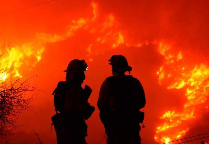 Los incendios en los condados de Ventura y Santa Bárbara apenas están contenidos en un 15%. (AP)