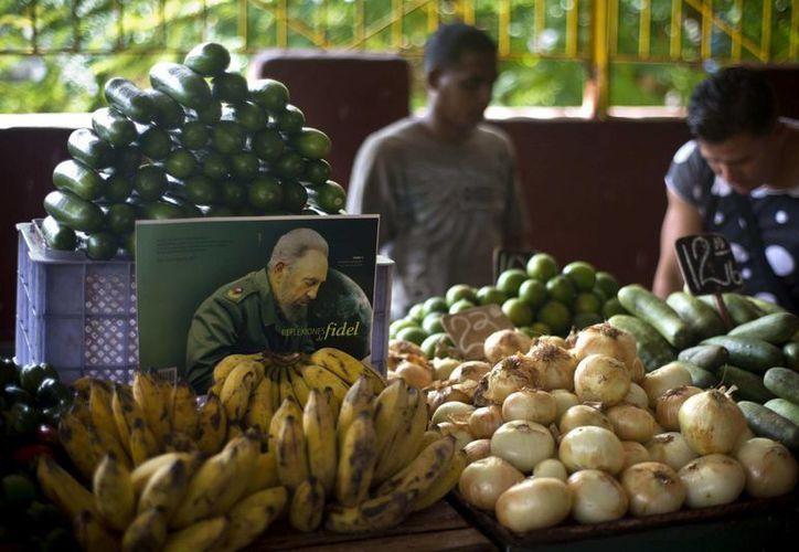 La foto muestra un cartel con el retrato de Fidel Castro entre la fruta y la verdura en un mercado en La Habana, Cuba. (AP/Ramon Espinosa)