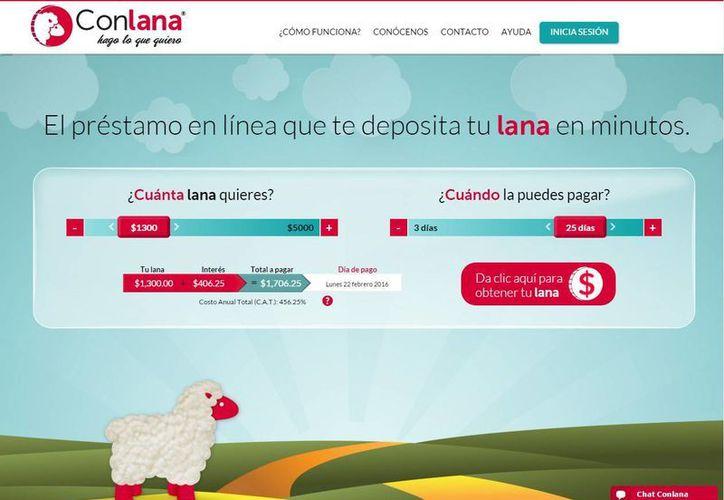 Los préstamos de ConLana pueden ser de un mínimo de mil pesos y de hasta cinco mil, con un plazo para pagar la deuda de tres y hasta 30 días. (conlana.com)