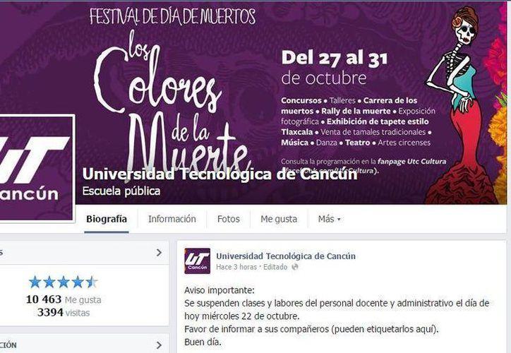 El anuncio de suspensión de clases se dio la madrugada del miércoles, a través de la página de Facebook de la UT Cancún (Internet).