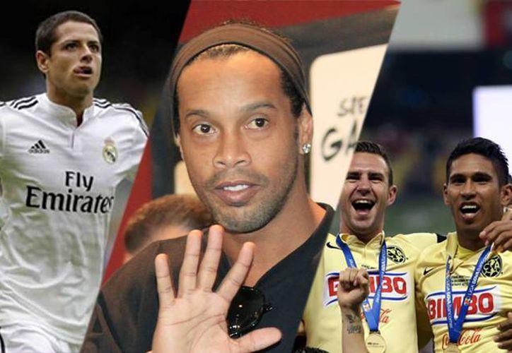 De izquierda a derecha: 'Chicharito' en su debut en el Real Madrid; Ronaldinho al ser presentado como refuerzo del Querétaro; y el América, campeón del Apertura 2014. (SIPSE)