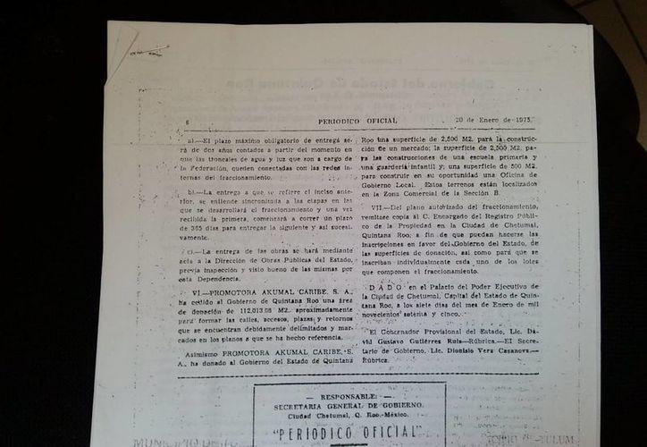 Documento de una donación y su publicación en el Periódico Oficial del Gobierno del Estado. (Rossy López/SIPSE)