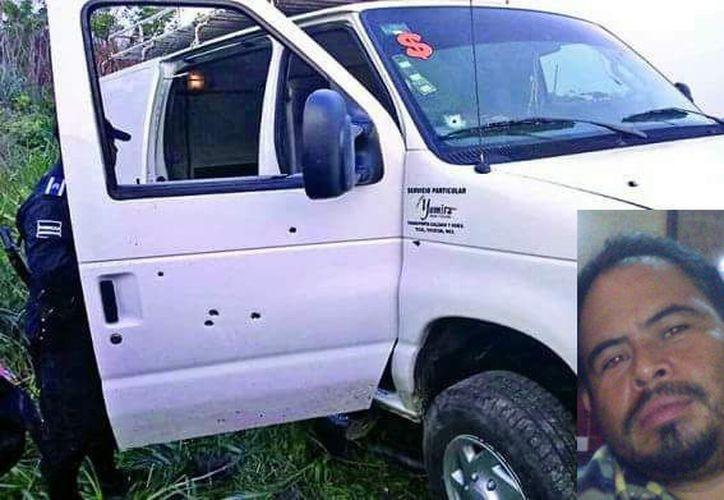 El chofer José Manuel (recuadro) falleció en el lugar de los hechos a consecuencia de los disparos. (Especial)