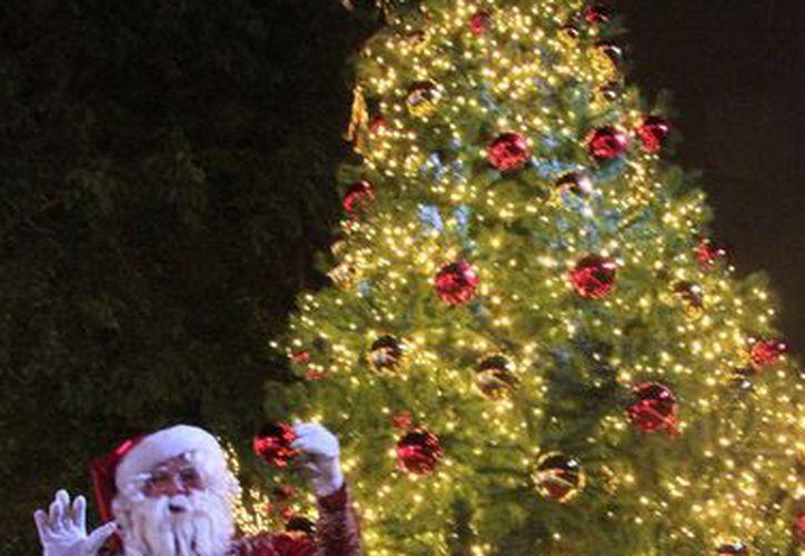 Los ciudadanos disfrutaron de las luminarias que adornan el Palacio Municipal. (Luis Soto/SIPSE)