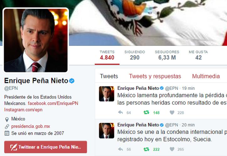 El presidente lamentó la pérdida de vidas humanas. (Twitter/@EPN)