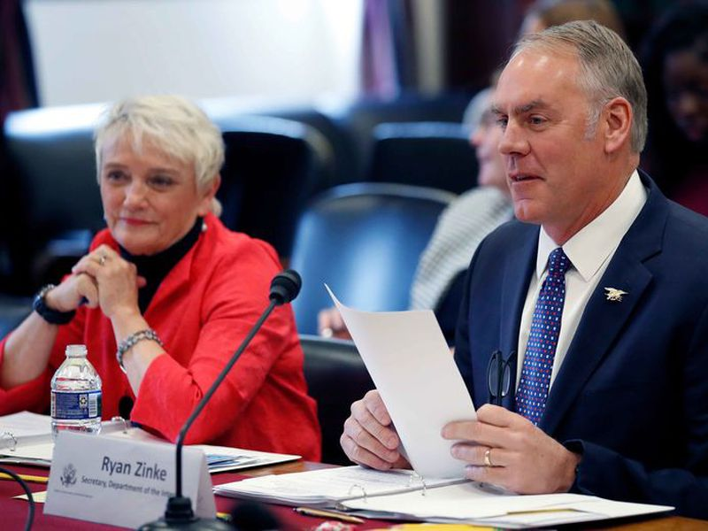 Interior Secretary Ryan Zinke testifies on the FY2019 budget during a hearing of the House Appropriations Committee Subcommittee on Interior, Environment, and Related Agencies, on Capitol Hill, in Washington.