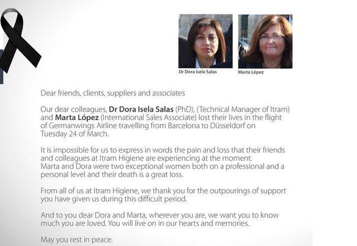 Dora Isela Salas y Marta López fueron recordadas por su empresa, Itram Higiene, como dos mujeres 'excepcionales' en lo profesional y personal. (itramhigiene.com)