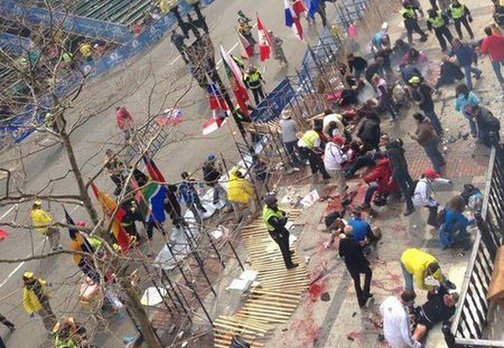 Usuarios de redes sociales han dado a conocer imágenes de como quedó la meta luego de la explosión.