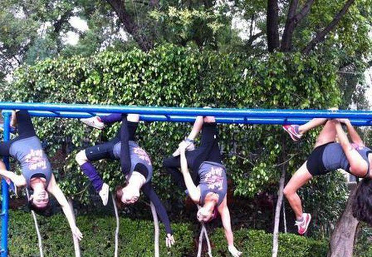 Alumnas y maestras de escuelas de pole dance en el Distrito Federal dieron muestra de sus habilidades en parques públicos. (Facebook/Amor ser chilango)