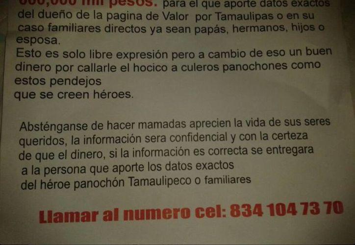 El tuitero de Valor por Tamaulipas indicó que ya ha recibido amenazas de muerte. (twitter.com/ValorTamaulipas)