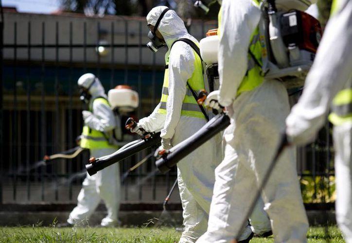 Obreros sanitarios lanzan insecticida para evitar la reproducción del mosquito que causa el virus del zika en Parque Chacabuco de Buenos Aires, Argentina. (Agencias)