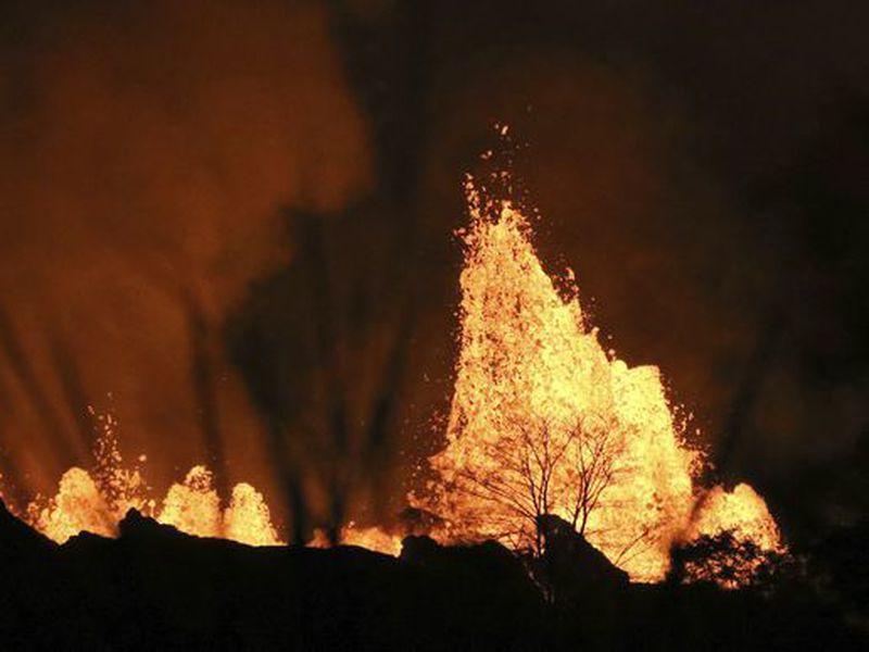 Lava explodes above a tree on Kilauea volcano, May 20, 2018 near Pahoa, Hawaii. (AP)