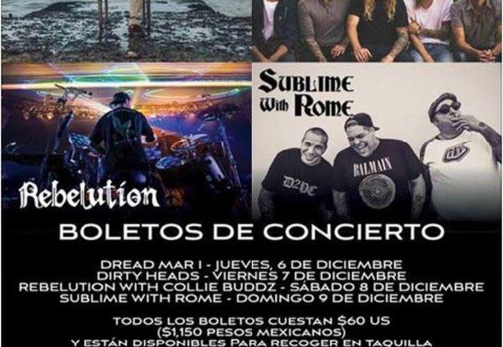 El cartel de los grupos que participarán en el evento de música. (Jocelyn Díaz/SIPSE)